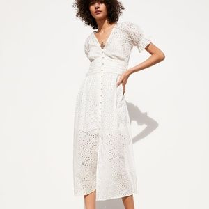 ZARA OPENWORK EMBROIDERY DRESS XS CUTWORK NWT